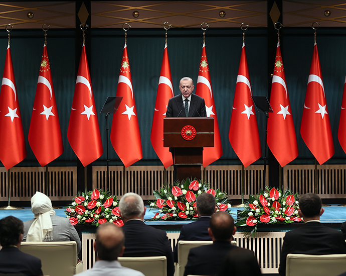 President Erdoğan addressed the nation following the Presidential Cabinet Meeting at the Presidential Complex