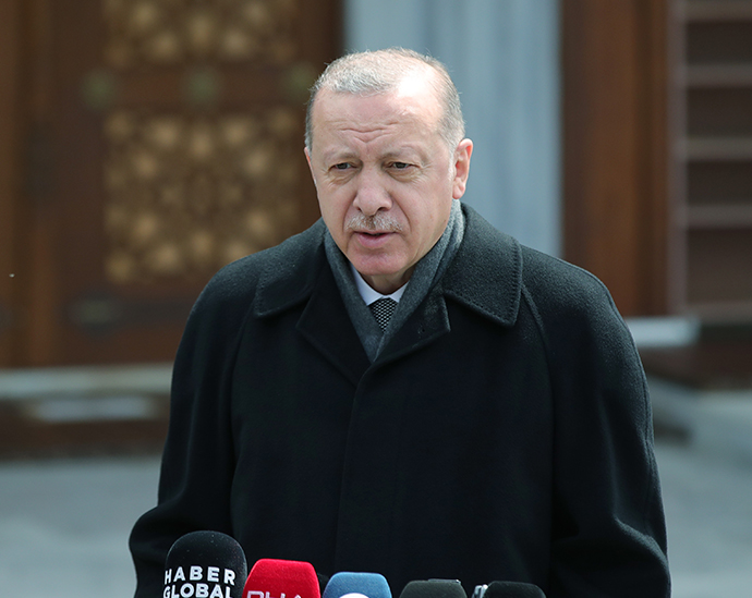 President Erdogan speaks to media after attending Friday prayers